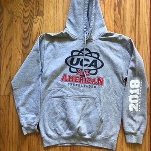 UCA All American grey sweatshirt with hoodie.